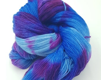 Hand Dyed Laceweight Super Fine Falkland Wool - Cornflower