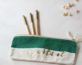 Green + Cream IMPORTANT Accessory Pouch w/ Tassels + Gold Details