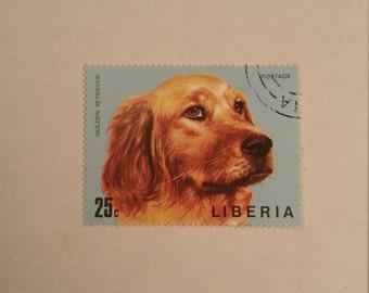 Liberia Golden Retriever Stamp