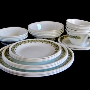 Corelle Livingware Dishes Crazy Daisy Spring Blossom White Avocado Green  Flower small plates luncheon plates dinner