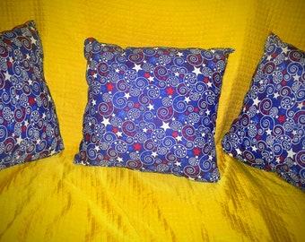 Handmade Red,White, Blue Pillow Set