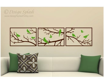 Tree Branches with Birds Triptych Panels Vinyl Wall Decals BT-104