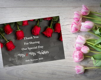 Personalised Wedding Thank You Cards with Matching Envelopes Pack Of 10 TY132