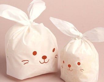 10 White Rabbit Plastic Bags - Brown / L size (5.5 x 9in)
