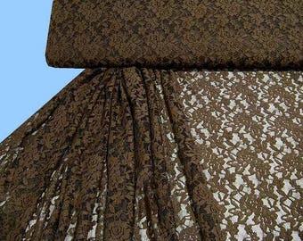 Patterned, bi-elastic lace Brown