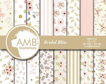 Floral Digital Papers, Shabby chic papers, Wedding Digital papers, Floral scrapbook papers, Digital Backgrounds, AMB-1314