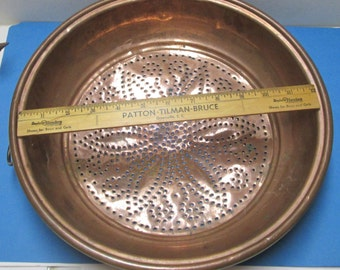 French Copper Strainer Copper Colander Vintage Copper Sieve French Farmhouse Kitchen Tool Antique Pierced