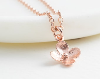 Rose Gold Flower Blossom Necklace