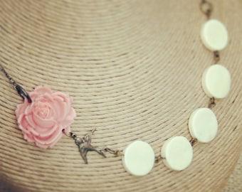 Peach Flower Necklace With Bird Charm