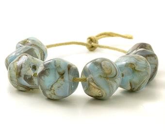 Lampwork Nugget Beads   Blue Lampwork Glass Beads   Light Blue Bead Set   Handmade Beads   UK SRA   Artisan beads
