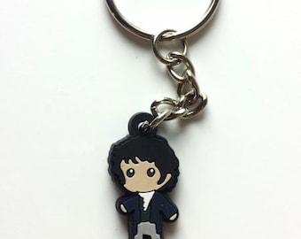 Mini Mr. Darcy Figure Keychain Charm Necklace Jane Austen Pride & Prejudice Book Gift