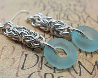 Silver Aluminum Chainmail Earrings with Light Blue Glass Donut, Byzantine Chainmaille Earrings, Casual Silver and Blue Jewelry
