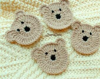 Easy Crochet Pattern, Teddy Bear Pattern, Applique Bears Pattern, DIY Applique Pattern, Animal Pattern, Crochet Bear, Instant Download /5006