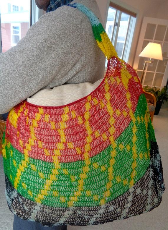 Bilum Big Striped Colorful String Bag Colorful Woven Purse
