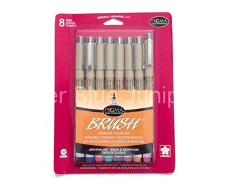 Sakura Pigma Brush Tip Color Set // Eight Brush-Tip Pens, Archival Ink