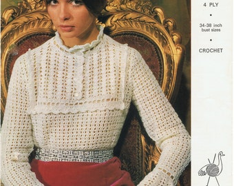 Vintage Retro Crochet Pattern For Classic Blouse - Instant Download PDF - Emu 2833