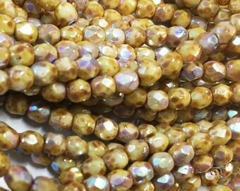 Stone Picasso Light AB Preciosa Czech Glass Fire Polished Crystal Beads 4mm 50 beads