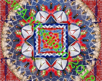 Photo mandala; red-white-blue-1