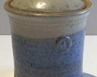Pottery Blue Honey Pot