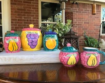 Vintage, Figi Graphics Ceramic Canister Set (3), Sugar Bowl and Creamer, Bright Colors with Fruit Pattern