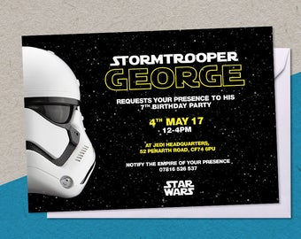 12 Printed Star Wars Stormtrooper Personalised Birthday Party A6 Invitations with/without white envelopes