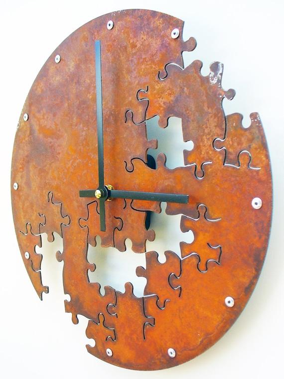 Puzzle v medium rustic wall clock modern laser cut - Wanduhr modern weiay ...