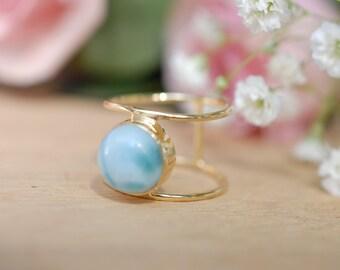 Larimar Ring * Gold Ring * Statement Ring * Gemstone Ring * Blue Ring * Natural * Organic Ring * Ocean * BJR023