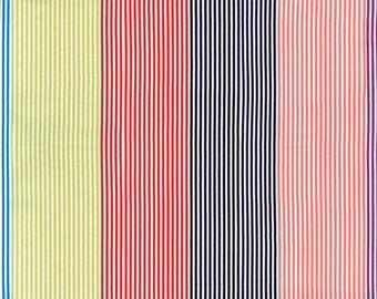 Gardenvale Multi Stripe Fabric - Moda - 18101 13 - Blue Citron Red Navy Peach Purple