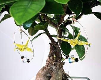 Silver and yellow origami crane hoop earrings