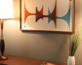 Mid Century Modern Witco Abstract Wall Art Sculpture Painting Atomic Retro Eames Era Love - The Mac