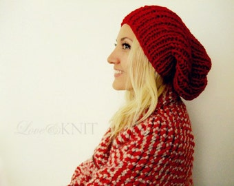 red slouchy beanie . baggy knit hat . hand knitted beanie . wool slouchy hat . chunky knit beanie . loose knit hat . womens tam hats
