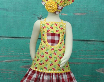 Toddler Apron, Girls Apron, Childrens Aprons, Ruffle Apron, Girls Apron Set, Chefs Set, Little Girls Apron, Child's Apron, Cherry Apron