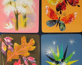 4 SEASONS  CARDS  Vintage Collectible Swap Cards Kids Arts & Crafts Projects Scrapbooking Mixed Media Free Shipping
