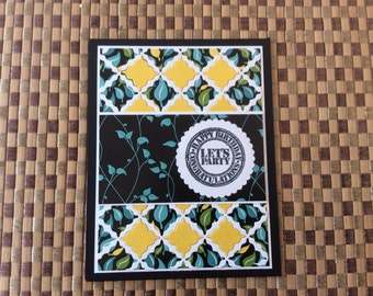 Handmade Greeting Cards:  Let's Party Birthday card. Lattice work card
