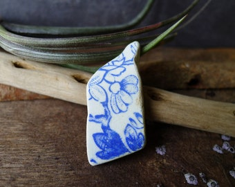Blue and White Floral Sea Pottery Fragment /  Genuine Scottish Sea Pottery / Scottish Beach Pottery