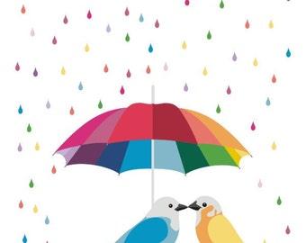 Love art  print - Rainbow Umbrella - bird art,Colorful wall art,Love bird print,Rainbow decor,Lovebird wall art,Bird artwork,Bird wall art