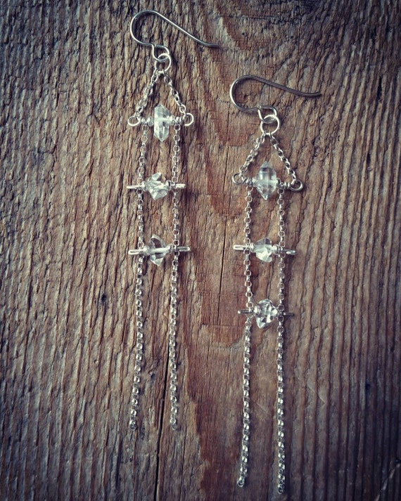 Herkimer diamond ladder earrings sterling silver