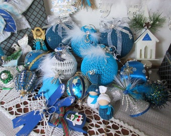Christmas  Ornaments - Handmade Blue  Ornaments -  Christmas Tree  Decor Blue Christmas  Ornament Lot .