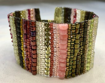 Pink and Green Stripe Hand-Woven Beaded Bracelet