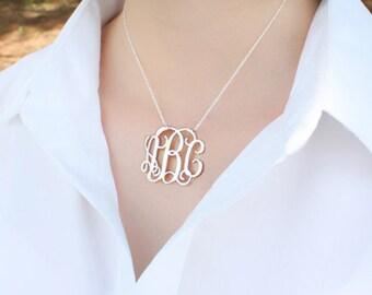 Silver Monogram pendant,1 inch personalized necklace-sterling silver monogram necklace