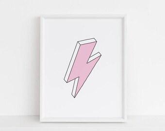 Pink Lightning Bolt - 8 x 10 - Printable Art - Instant Download