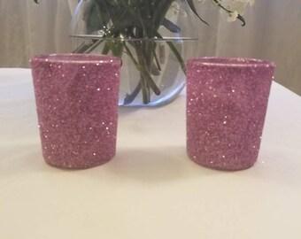 6 Sparkly Lavender Glitter Votives
