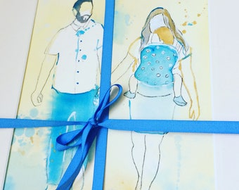 Mother's Day Gift, Custom Family Watercolor Portrait; Special Gift for Son-in-law; New born in a sling; Watercolor Portrait