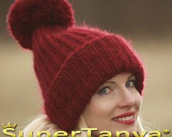 Made to order hand knit hat, thick and fuzzy mohair cap in red by SuperTanya
