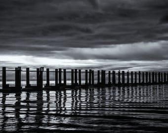 Moody Seascape photograph, A4 photo print in various sizes - Ocean wall art, Awaiting Sunrise, minimalist black and white fine art photo