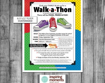 "Walk A Thon Event Flyer Printable | Fundraiser | PTA | PTN | School Flyer | Education | Teacher | Flyer Design | Handout | 8.5""x11"""