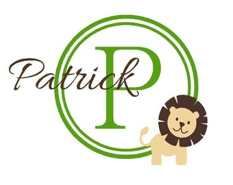 Name wall decal - Name and Initial - wall decals nursery - baby boy nursery name - boy decal - monogram - lion decal BN054
