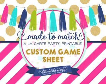 Made to Match Party Printable- Game Sheet