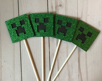 Ready to Ship! Large Minecraft Creeper Cupcake Toppers - Minecraft Party - Creeper Party - Miner Party - Cupcake Toppers - Cake Topper
