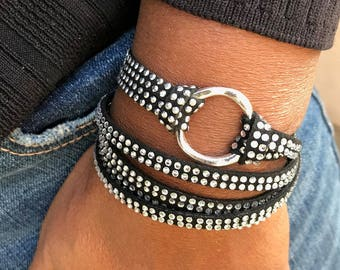 Infinity Circle Wrap Bracelet, Leather Jewelry, Black Rhinestone Faux, Leather Cuff Bracelets, Gift for Her, Leather, Triple Wrap, Bangles